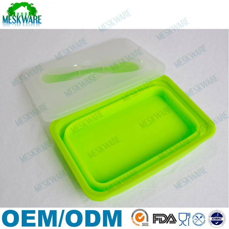 Kitchen Accessory Silicon Colorful Japanese Bento Lunch Box, non stick silicone folding food container