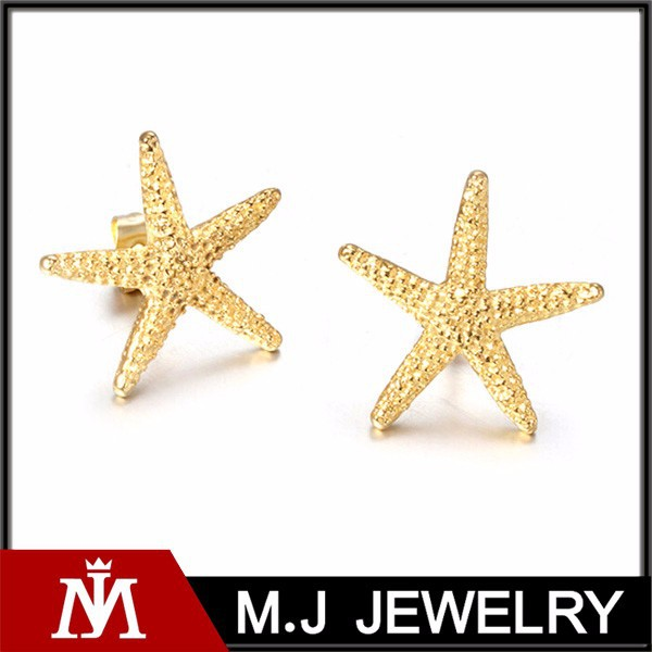 Elegant starfish earring with 18k gold plated stainless steel star stud earrings jewelry