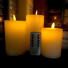 Wax Battery Timing Moving Flameless Flickering Pillar LED Candle with Remote Control