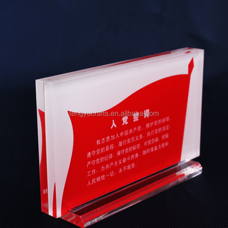 slide plexiglass perspex clear display stand double panel countertop acrylic cube small sign holder