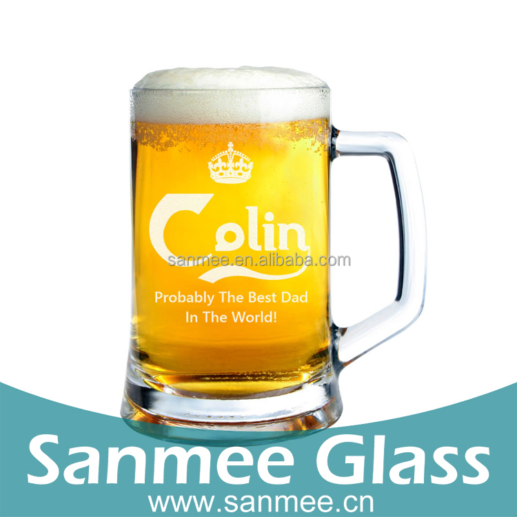 Clear Printed Logo 12oz Beer Mug Glass Cup With Handle