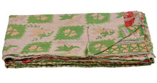 Indian Vintage Kantha Bed Cover, Hand Quilted Kantha Quilt Wholesale Supplier