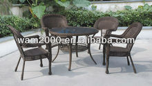 outdoor steel pe round rattan dining set for garden
