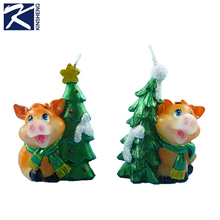 best selling personalised christmas tree pig candle