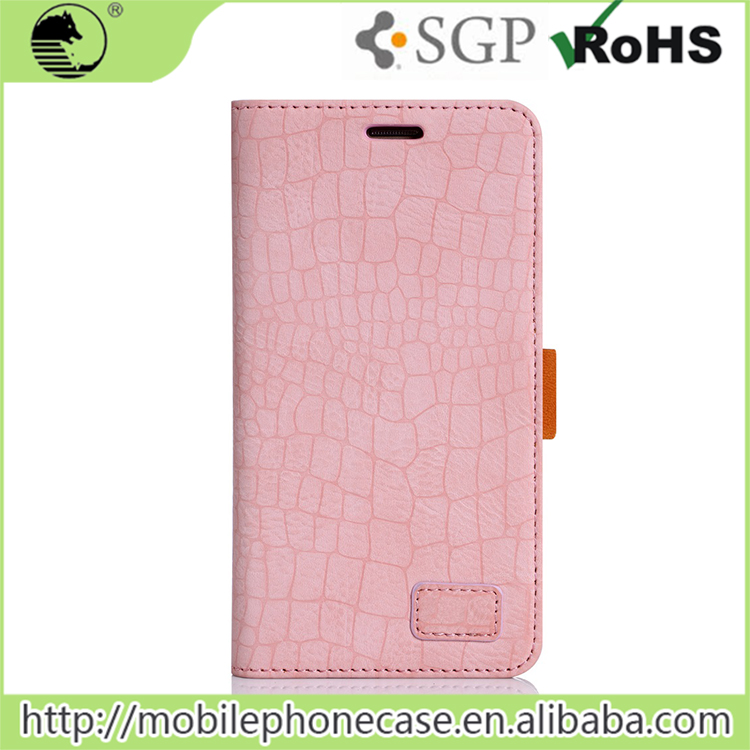 Pink Cute Crocodile Grain Flip Case For Samsung Galaxy A8