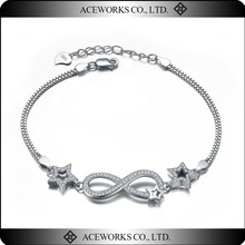 925 Sterling Silver CZ Infinity Symbol and Star Bracelet