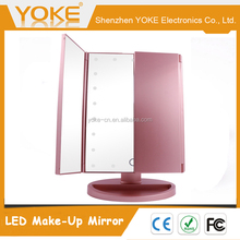 2017 three side Desktop foldable makeup mirror with 21 pcs LED lights and touch sensor