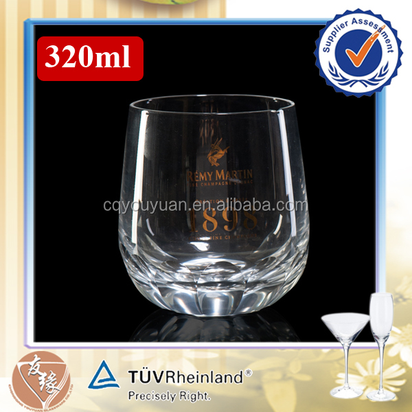 Handblown 320ml engraved whiskey rock drinking glass