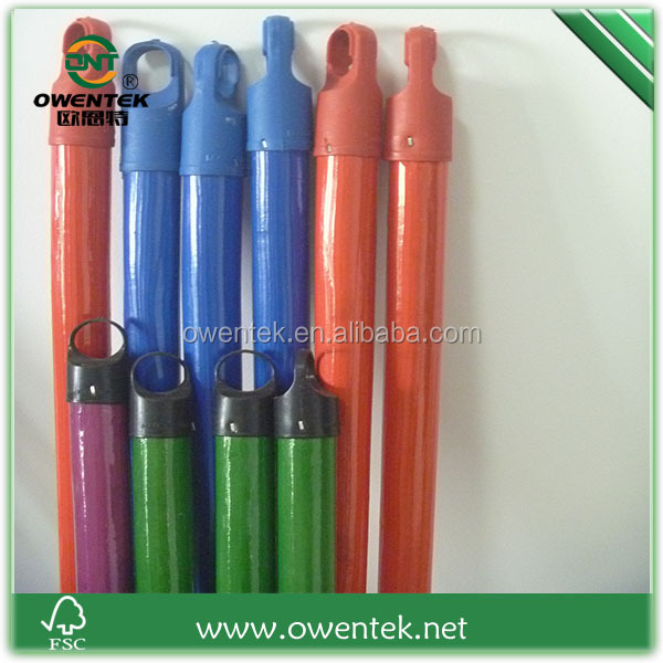 China Manufacturing PVC covered wooden poles for mop handle use,pvc covered mop poles