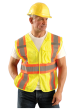 yellow high-visibility construction vest for workmans