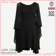 Ladies' viole ruffle chiffon loose style casual high quality direct manufacture cheap full dress