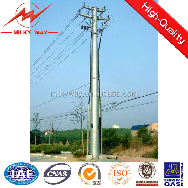 octagonal high voltage electric power pole , electric power transmission steel tower pole