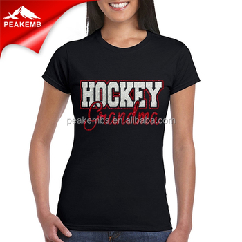 Wholesale Glitter Vinyl Ho-tfix Hockey Grandma Heat Rhinestone Transfer for Clothing