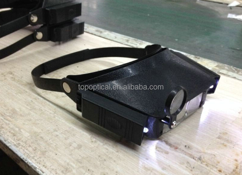 Hot sales head led magnifier with 2 LED light and PMMA lens