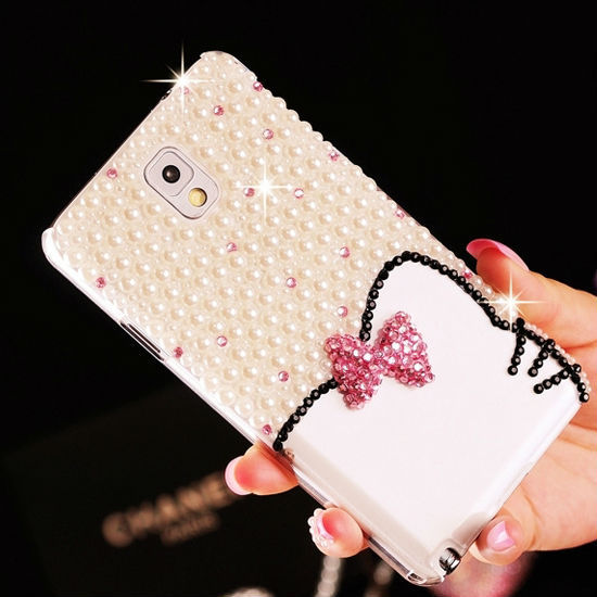 New Lovely Girl White Cat Pearl Bling Bling Diamond Rhinestone Case for Samsung Galaxy Note 3 Back Cover