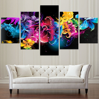 5 panel painting canvas wall art full drill diamond 5d diy round diamond painting flowers