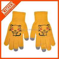 wholesale high quality acrylic custom touch sensitive gloves