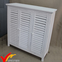 Luckywind white decor vintage wood cabinet with shuttered door
