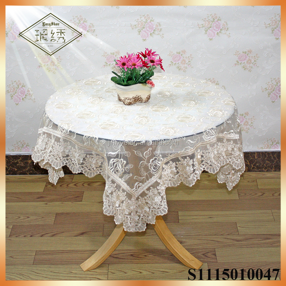Fashionable trendy rosette embroidered table cloth