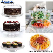 6 In 1 Clear Acrylic Dome Lid Salad Plate Punch Bowl Cake Stand