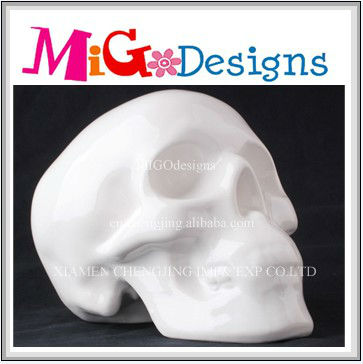 white skull shaped ceramic single coin box high quality with reasonable price