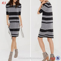 2015 New Design Sweater Round Neck Dress Pattern Winter Black And Gry Strip Dress