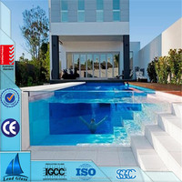 8mm 10mm 12mm cut to size clear toughened tempered glass swimming pool with competitive price