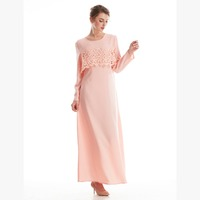 lace hollowed-out in the pure color Arab women's ladies' dresses