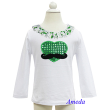 St Patricks Day Bling Green Heart Mustache White Long Sleeves Top 3M-7Y