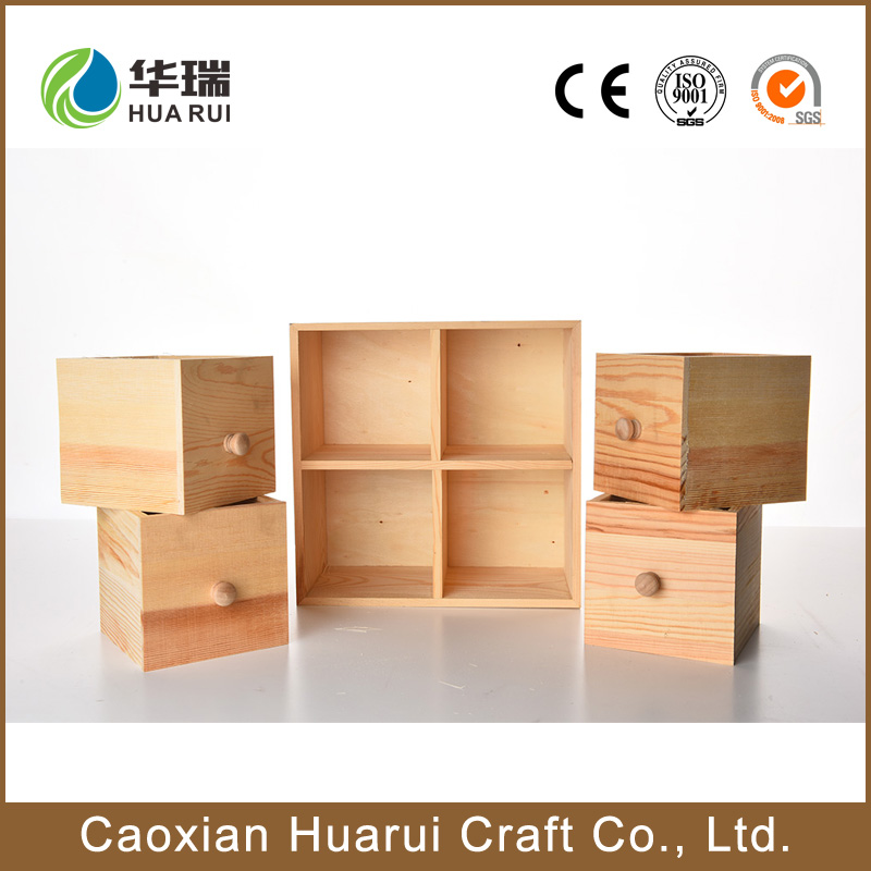 Small unfinished wooden storage box with lid for kids