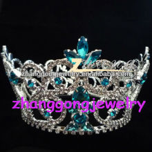Fashion New design Beauty blue Rhinestone pageant Crown&Tiara