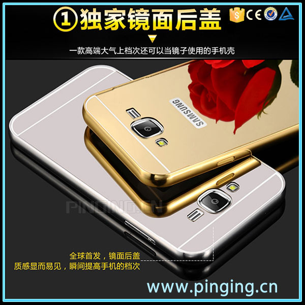 Luxury Electroplate Aluminum Bumper Metal Mirror Back Cover Case For Samsung Galaxy J2