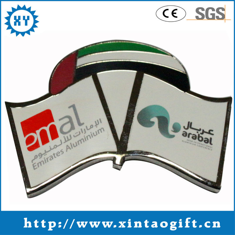 Badge of epoxy coated emblem insignia two flags