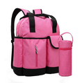 Pink 300D Polyester Designer Diaper Backpack with Bottle Bag