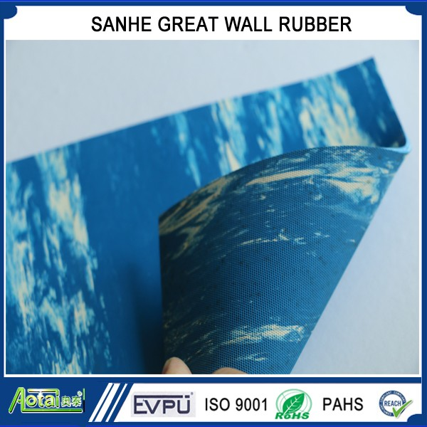 blue black grey color marble rubber sheet roll flooring mat
