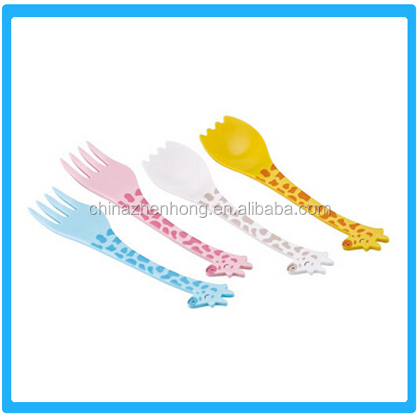 Cartoon Giraffe Plastic Fork And Spoon With Food Grade