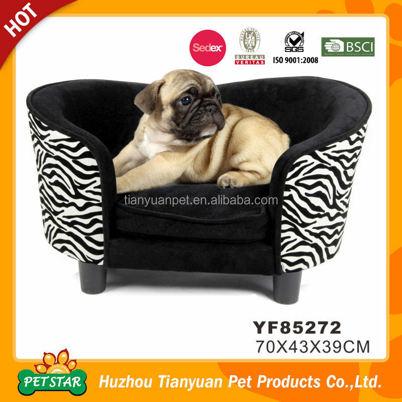 Soft Fabric Zebra Pattern Black and White 3/4 Surrouned Luxury Dog Sofa
