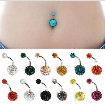Best selling body piercing jewelry 14g stainless steel belly ring crystal