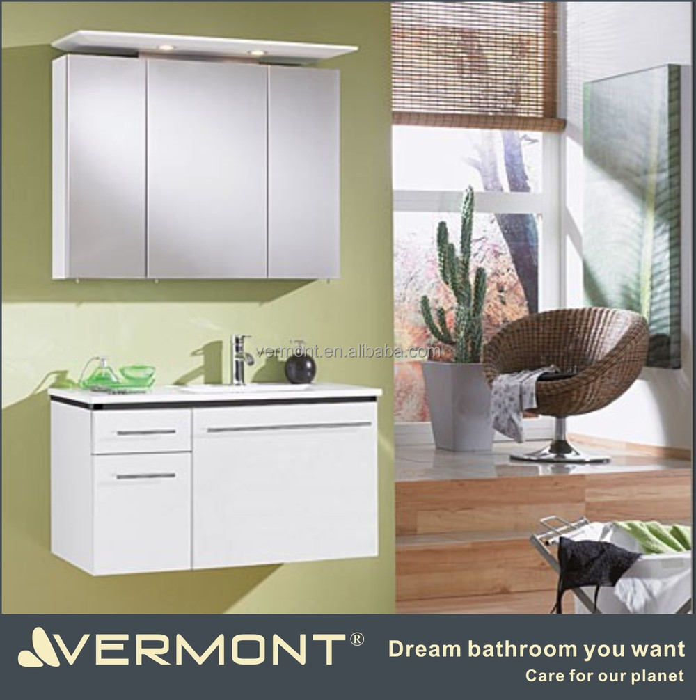 wall mounted MDF high gloss painting white bathroom vanity