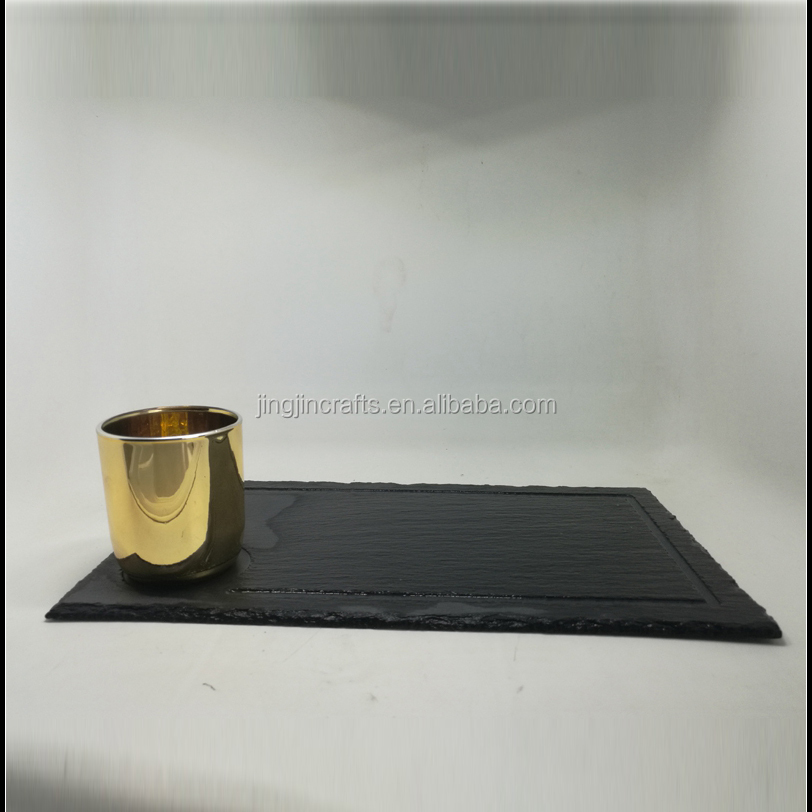 hand cut glass candle holder with slate candle tray