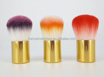 Gold metal handle cosmetic face brush kabuki powder brush