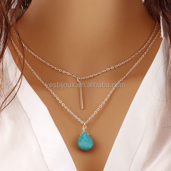 cheap trendy multilayer necklace turquoise <strong>jewelry</strong>