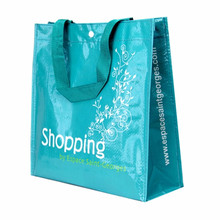 Recycle lamianted pp woven shopping bag with button closure