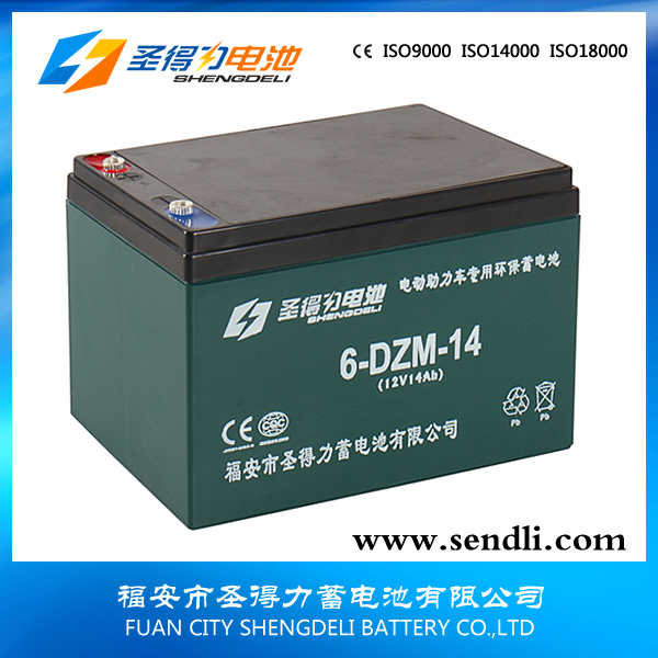6-DZM-14 12V14ah storage 48v lead acid battery forelectric bike Green latest products mf battery for electric bicycle