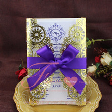 Laser Cut Wedding Card Purple Ribbons Decoration For Invitation Card Gold