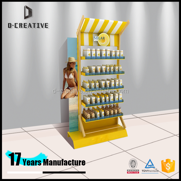 Shopping Centre Design Furniture Fashionable Cosmetic Product Display Standing Shelves For Sunscreen/ Body Care Products