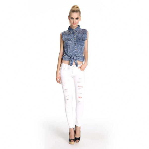 Superior Quality Embellished Women In Tight Blue Jeans