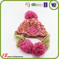 funny baby crochet beanie hat handmade red knitted cap fur pom pom crocheted hat