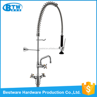 European modern kitchen design double handle dual mounted commercial faucet