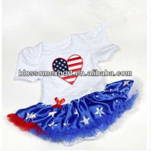 Fourth of july ,red,white,blue skirt onesie for American Independence Day